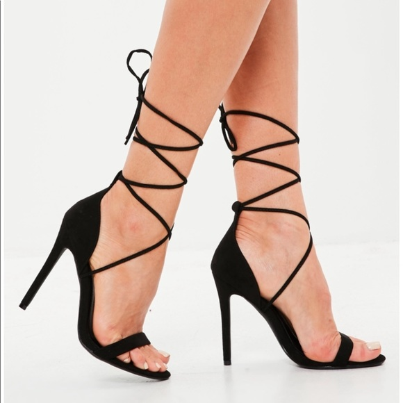 567884dcc1d Missguided Black barely there lace up heels